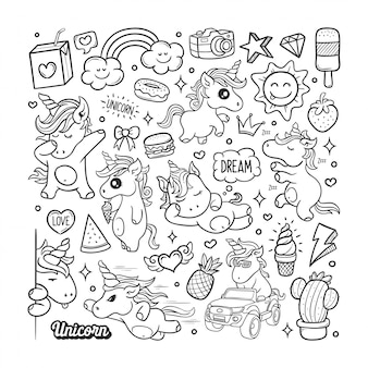Unicornios dibujado a mano doodle color