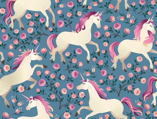 Unicornios en el fondo con el bosque de hadas