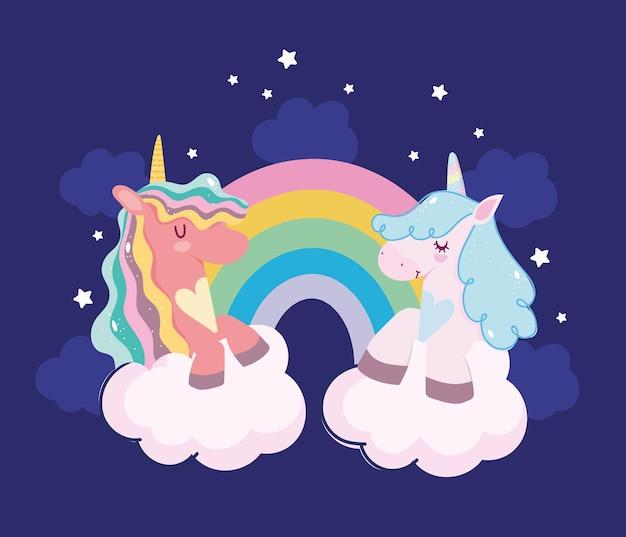 Unicornios lindos decoración de estrellas del arco iris