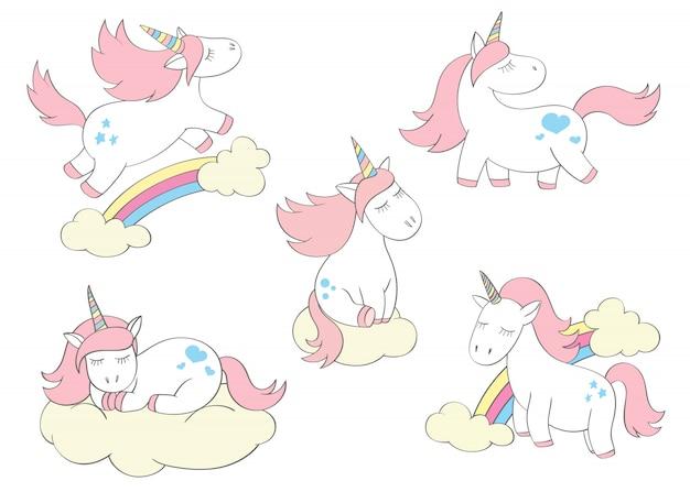 Unicornios lindos mágicos establecidos en estilo de dibujos animados. doodle unicorns