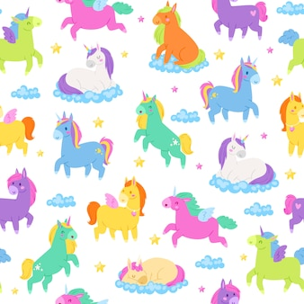 Unicornios lindos, patern sin costura, mundo mágico de fantasía, bonitos animales de hadas, industria textil, ilustración de dibujos animados.