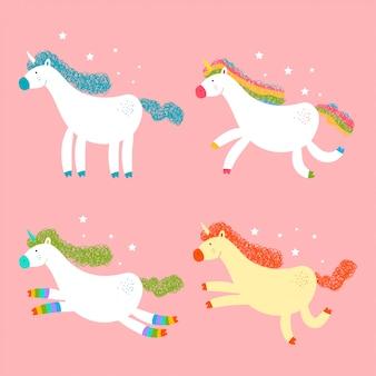 Unicornios lindos personajes de dibujos animados de vectores conjunto aislado