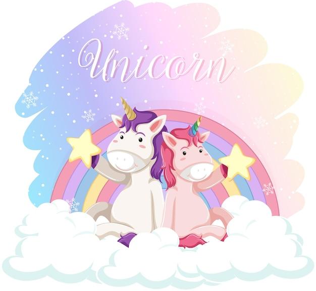 Unicornios lindos sentados en la nube con arco iris pastel aislado sobre fondo blanco.