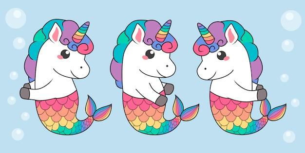 Unicornios mágicos de sirena