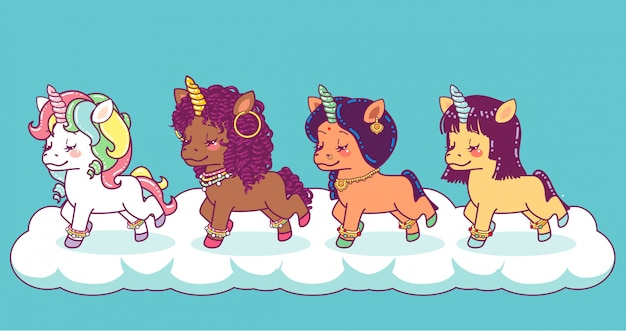 Unicornios multiétnicos de colores