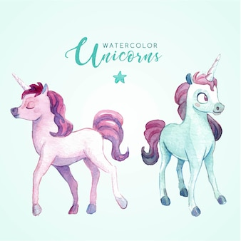 Unicornios preciosos de acuarela