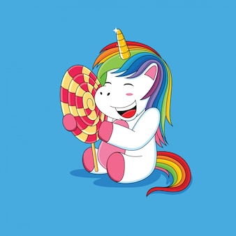Unicornios que están felices con los dibujos animados de piruletas