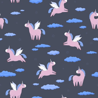 Unicornios rosados, nubes y estrellas sobre un fondo gris oscuro. patrón sin costuras en un estilo plano. hecho en un vector. para diseño, papel de regalo, textiles.