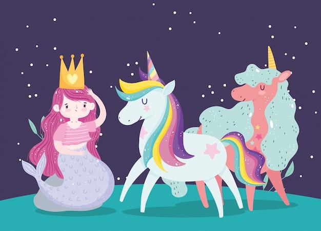 Unicornios y sirena con dibujos animados mágicos de la princesa corona