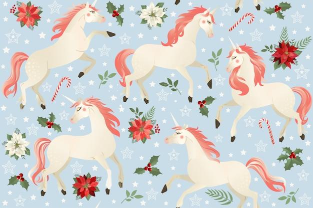 Unicornios sobre un fondo floral navideño. patrón sin costuras