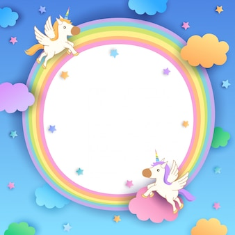 Unicorns-rainbow-frame