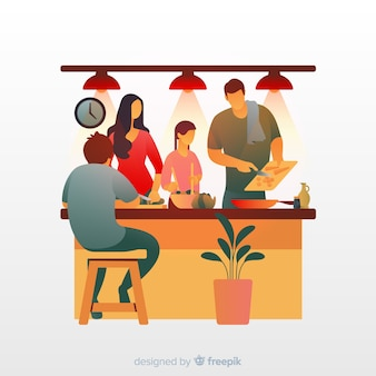 Unidad familiar en la cocina