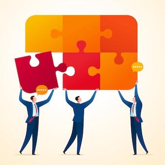 Uniendo rompecabezas de negocios