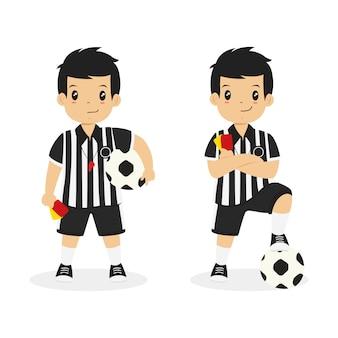 Uniforme del árbitro del muchacho que lleva, vector del carácter.