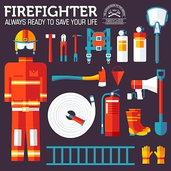 Uniforme de bombero y equipo e instrumentos de primeros auxilios