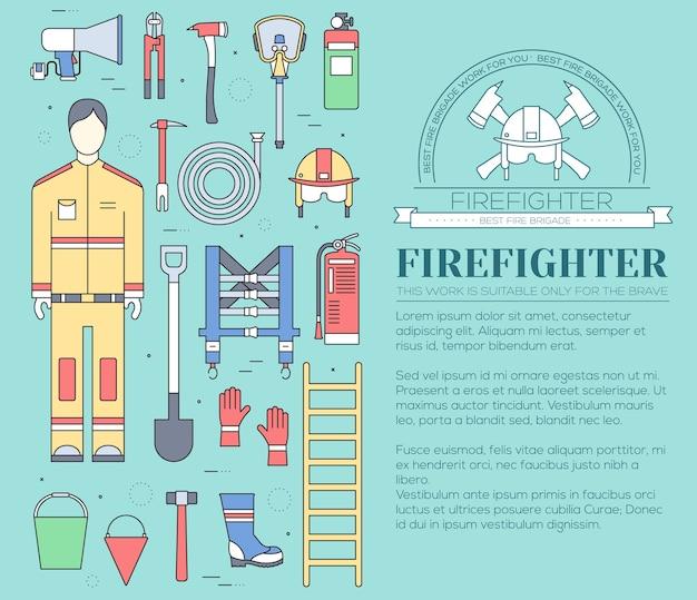 Uniforme de bombero plano y equipo e instrumentos de primeros auxilios