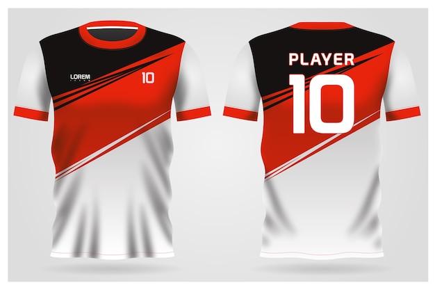 Uniforme de camiseta de fútbol blanco rojo negro para el club de fútbol, vista frontal y posterior de la camiseta