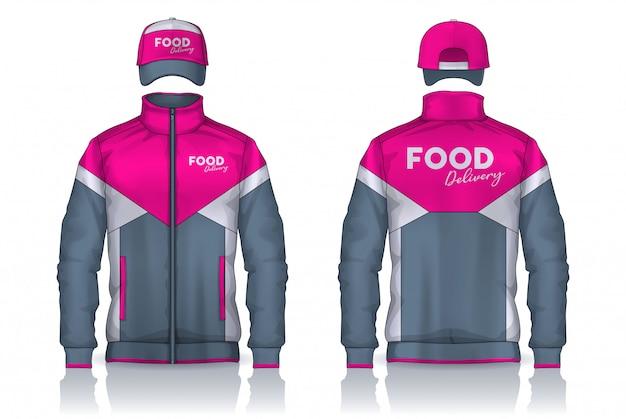 Uniforme de entrega, diseño de plantillas de chaqueta y gorra, camisas de trabajo corporativas.
