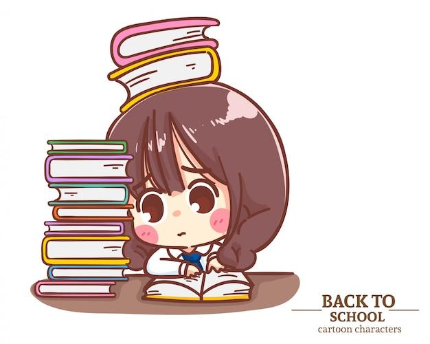 Uniforme de estudiante de niñas concentrándose en la lectura de libros. volver al logo de ilustración de la escuela. vector premium