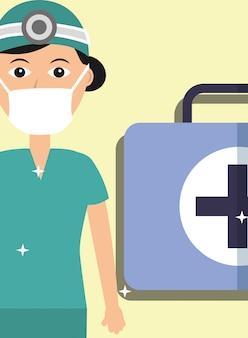 Uniforme médico y máscara con kit de primeros auxilios.