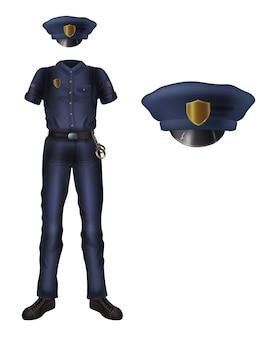 Uniforme de policía y gorra con escarapela, traje de seguridad policial.