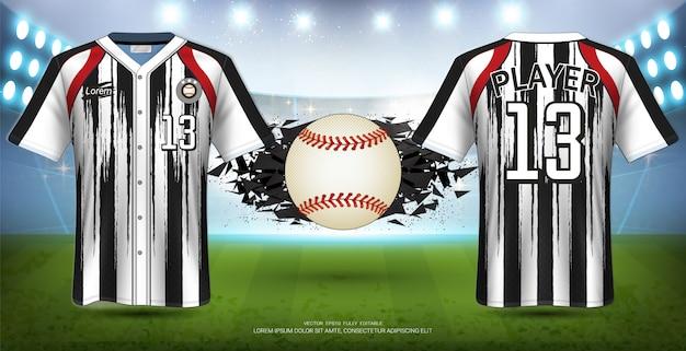 Uniformes de béisbol y camisetas deportivas maqueta plantilla.
