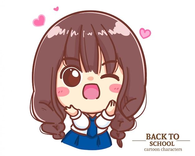 Los uniformes de estudiantes de cute girl children fueron muy emocionantes y encantados de regreso a la escuela. ilustración de dibujos animados vector premium