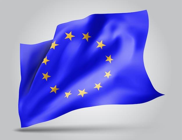 Unión europea, bandera de vector con olas y curvas ondeando en el viento sobre un fondo blanco.
