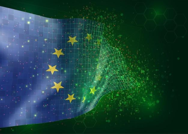 Unión europea, en vector bandera 3d sobre fondo verde con polígonos y números de datos