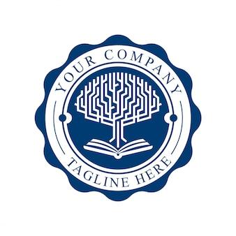 Universidad y academia. conjunto de emblemas o sellos para graduados de educación secundaria en ciencias tecnológicas, plantilla de logotipo