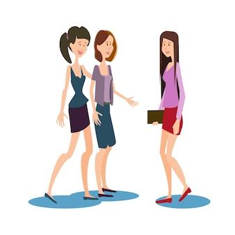 Universidad de chat de grupo de estudiantes de chicas jóvenes