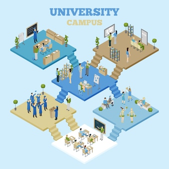 Universidad isometrica ilustracion