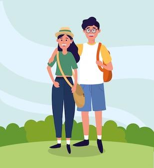 Universidad mujer y hombre pareja con mochila