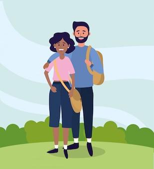Universidad mujer y hombre pareja con ropa casual