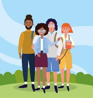 Universitarios y amigas con mochilas