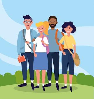 Universitarios con ropa casual y bolsos