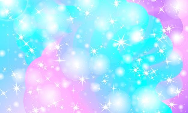 Universo de fantasía. fondo de hadas. ilustración vectorial. estrellas mágicas holográficas. patrón de unicornio. fondo de caramelo.