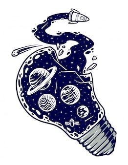 El universo y la ilustración de la bombilla