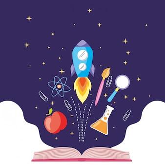 Universo de vector de banner de conocimiento
