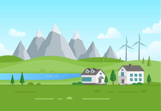 Urbanización con molinos de viento junto al lago - ilustración vectorial moderna. paisaje con montañas, árboles, pequeñas casas suburbanas de plantas bajas, cielo azul con nubes. concepto de ciudad ecológica