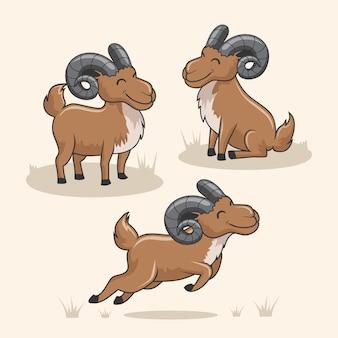 Urial cabra de montaña de dibujos animados lindo gamuza