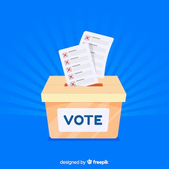 Urna de elecciones moderna con diseño plano