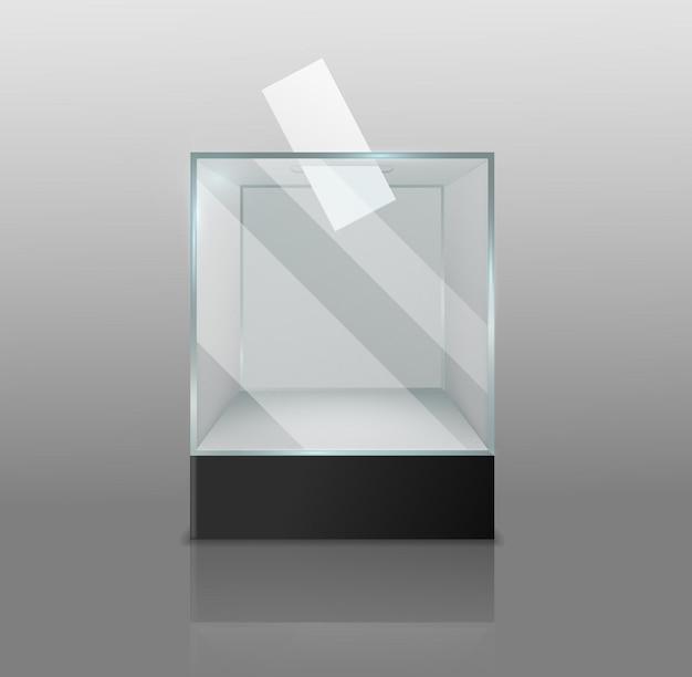 Urna electoral. estuche transparente vacío con papel blanco de votación en el agujero, encuesta electoral confidencial, vitrina cuadrada de vidrio o plástico en un solo objeto aislado de vector 3d realista de podio negro