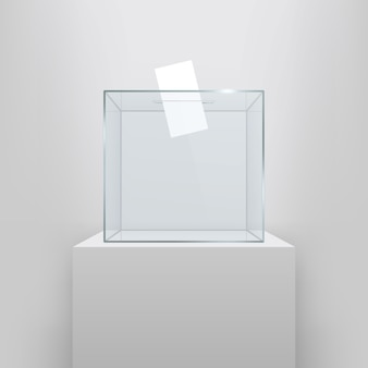 Urna con papel de votar en hoyo.