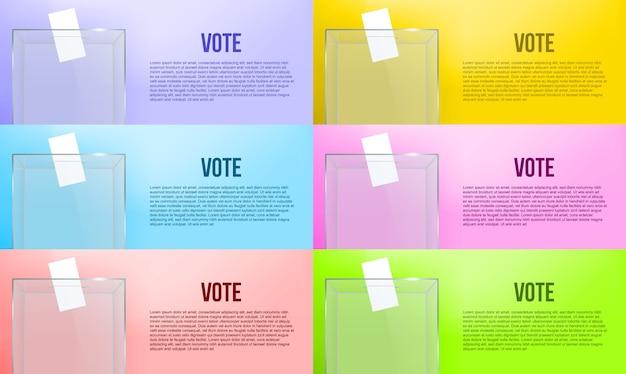 Urna transparente con papel de votación en el agujero.