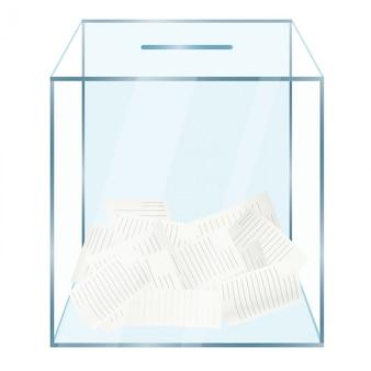 Urna de vidrio con documentos de votación