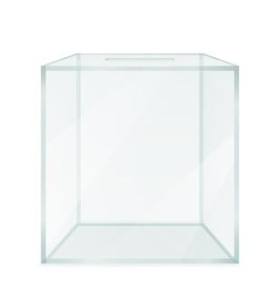Urna de vidrio transparente para votación electoral aislado sobre fondo blanco.