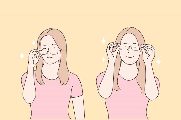 Usar gafas para elegir el concepto de gafas de prueba de llanta