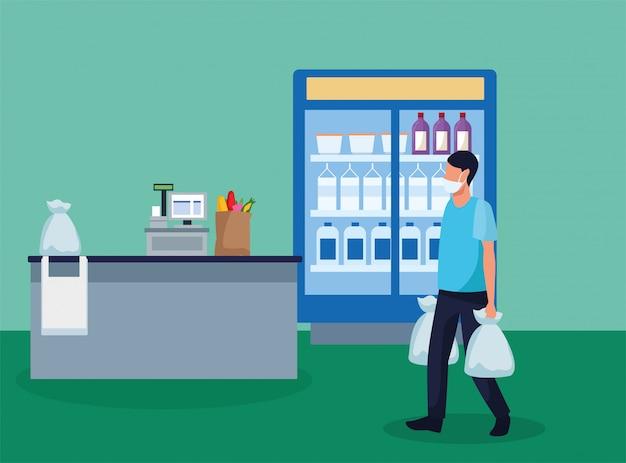 Usar mascarillas en el supermercado