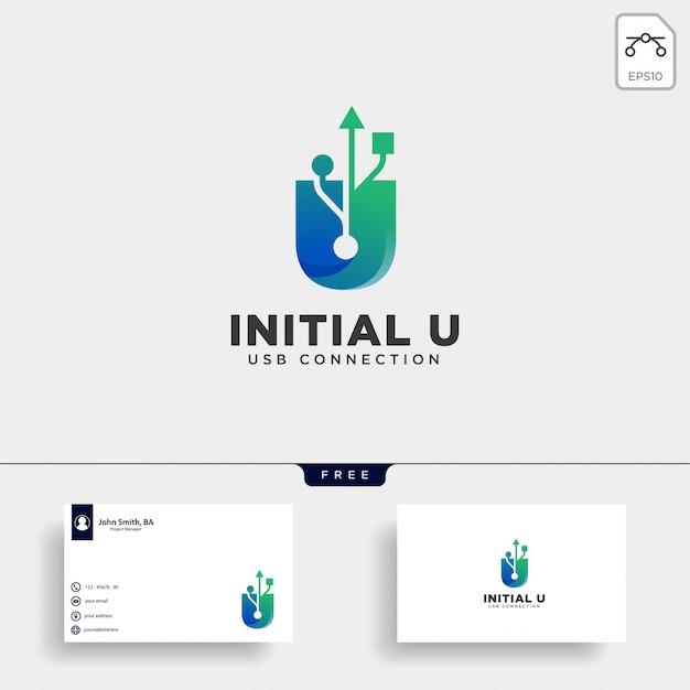 Usb letra u conexión logo plantilla vector ilustración